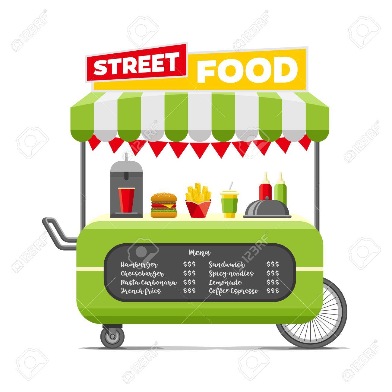 Fast street food cart. Colorful vector illustration, cute style,...