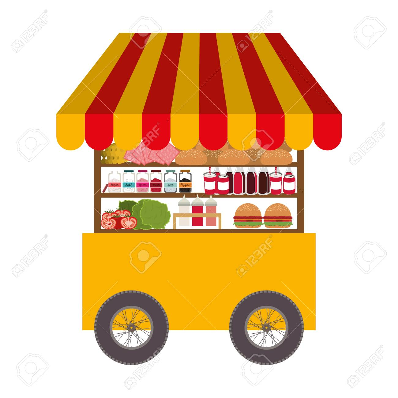 fast food cart icon over white background. street business design.