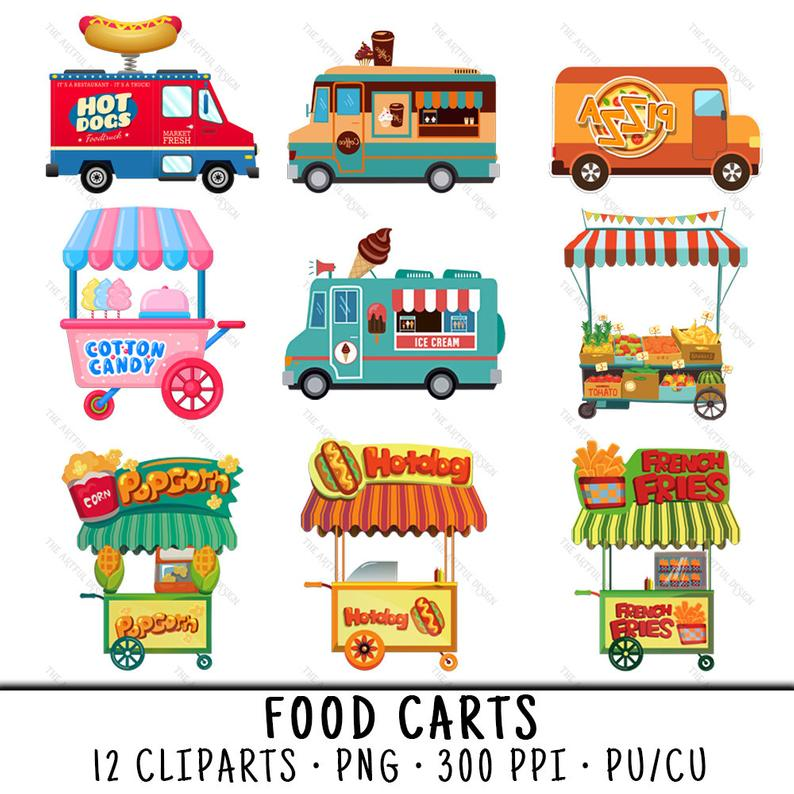 Food Cart Clipart, Food Truck Clipart, Food Cart Clip Art, Food Truck Clip  Art, Food Cart PNG, Food Truck PNG, PNG Food Cart, Food Carts.