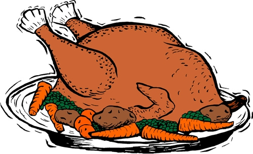 Plate Of Food With Chicken Clipart.