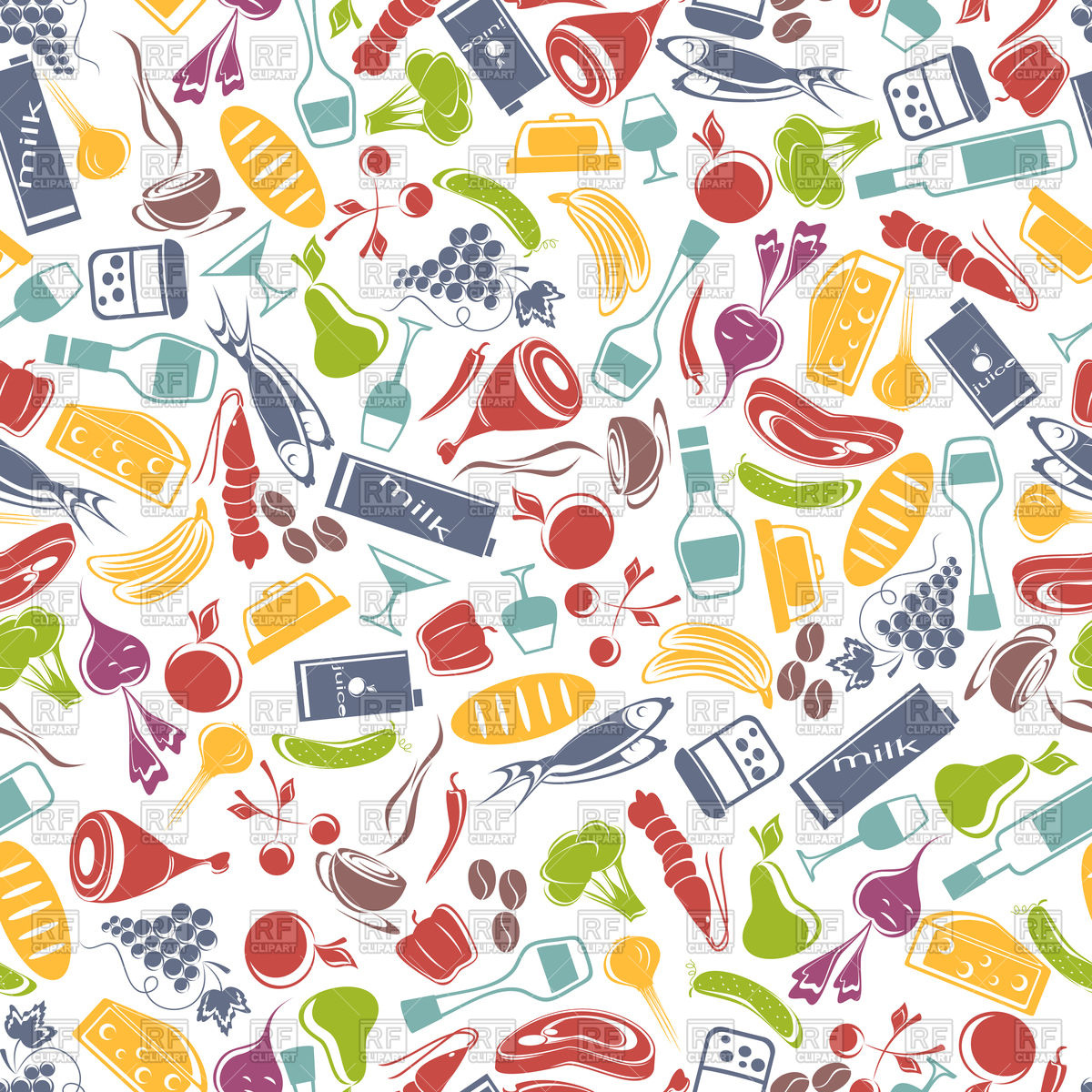 Seamless food background Stock Vector Image.