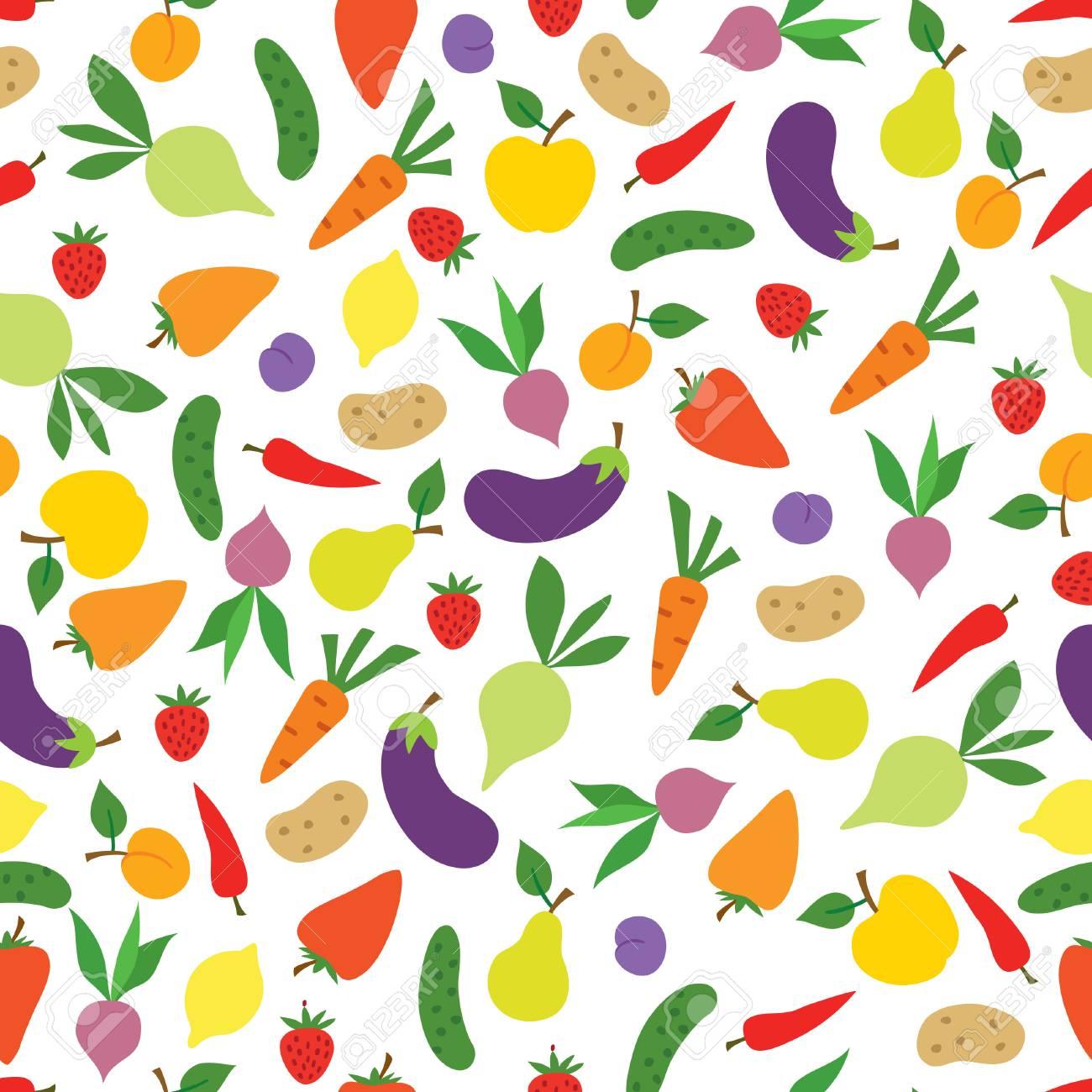 Vegetable seamless pattern. Healthy food ingredient background.