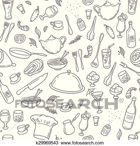Food and drink outline seamless pattern. Hand drawn kitchen background  Clipart.