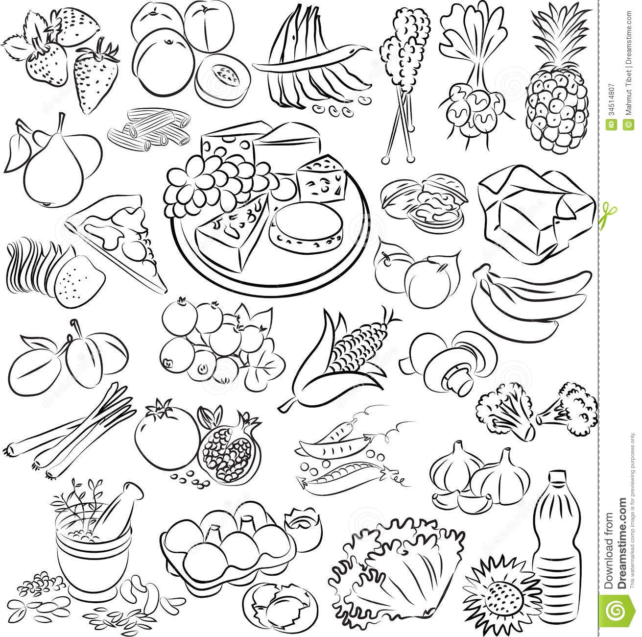 Black And White Healthy Food Clipart.