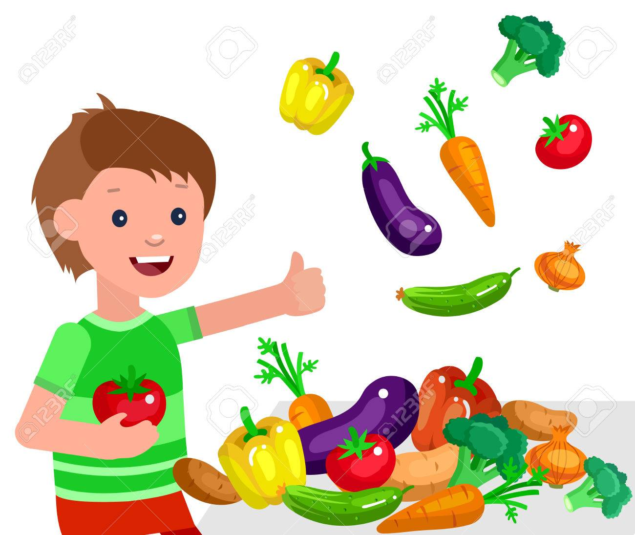 Cute vector character child and healthy food. Child boy with...