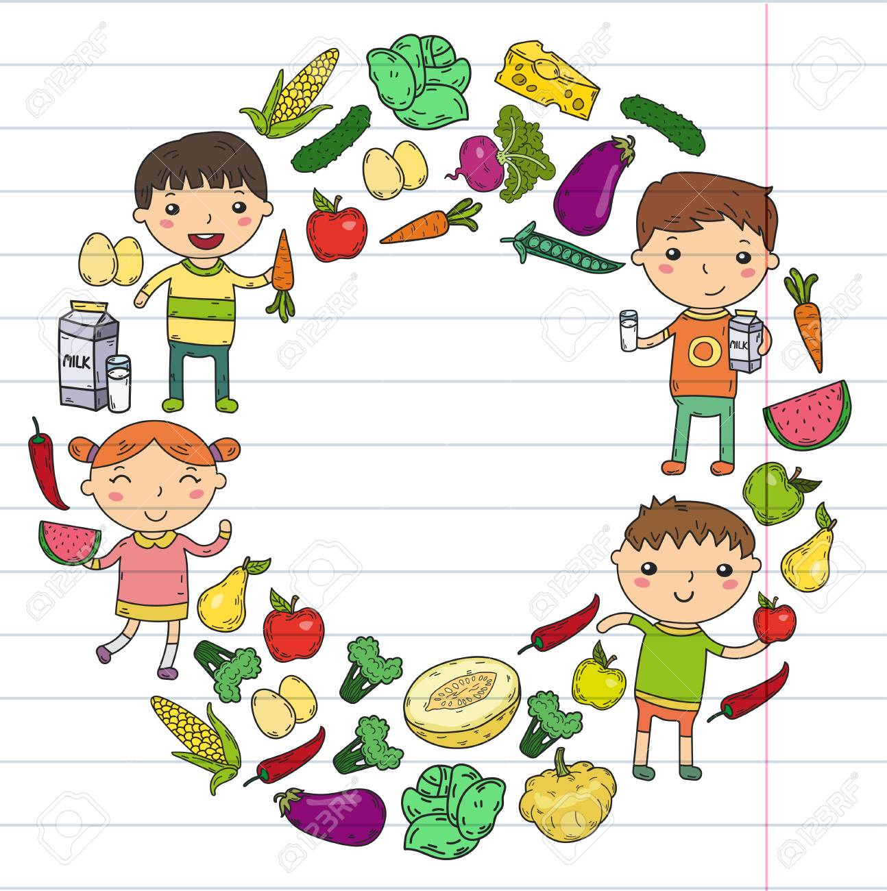 School kids eat healthy food illustration..
