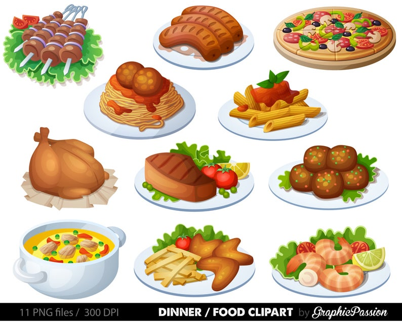 Food Clipart Dinner Clipart Spaghetti Clipart Pizza Clipart Digital food  clipart Meatballs clipart.