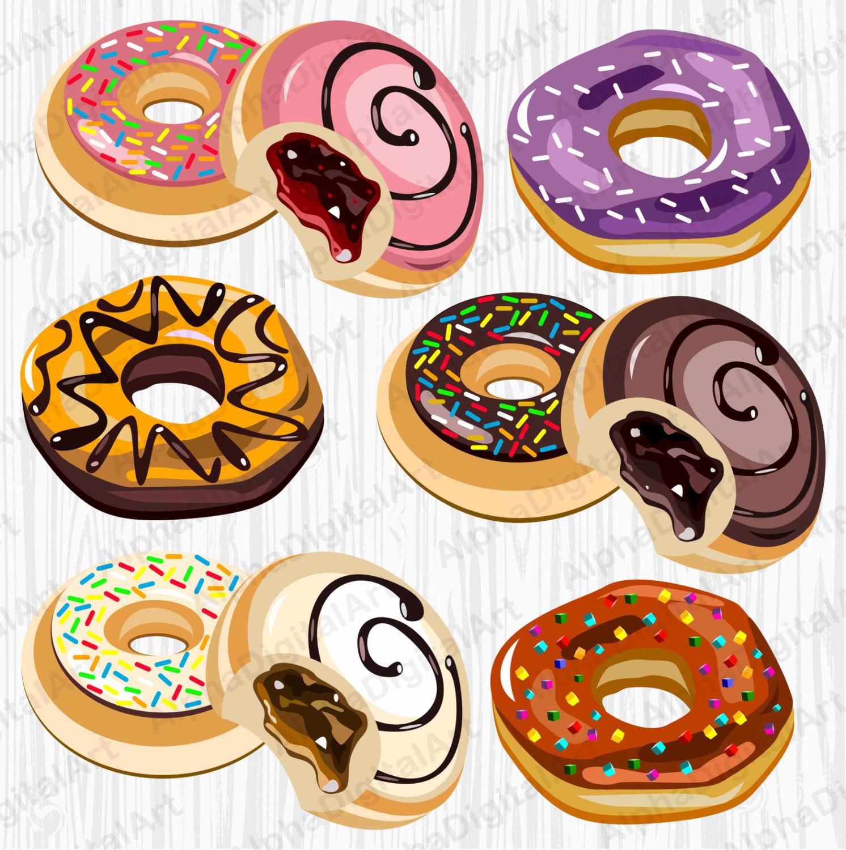 6 Donuts Clipart, Cupcake clipart, dessert clipart set, food.