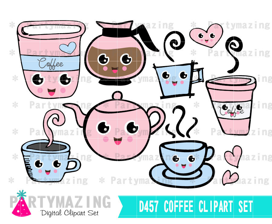 Coffee Clipart, Planner Clip Art Set, kawaii clipart, Coffee Break.