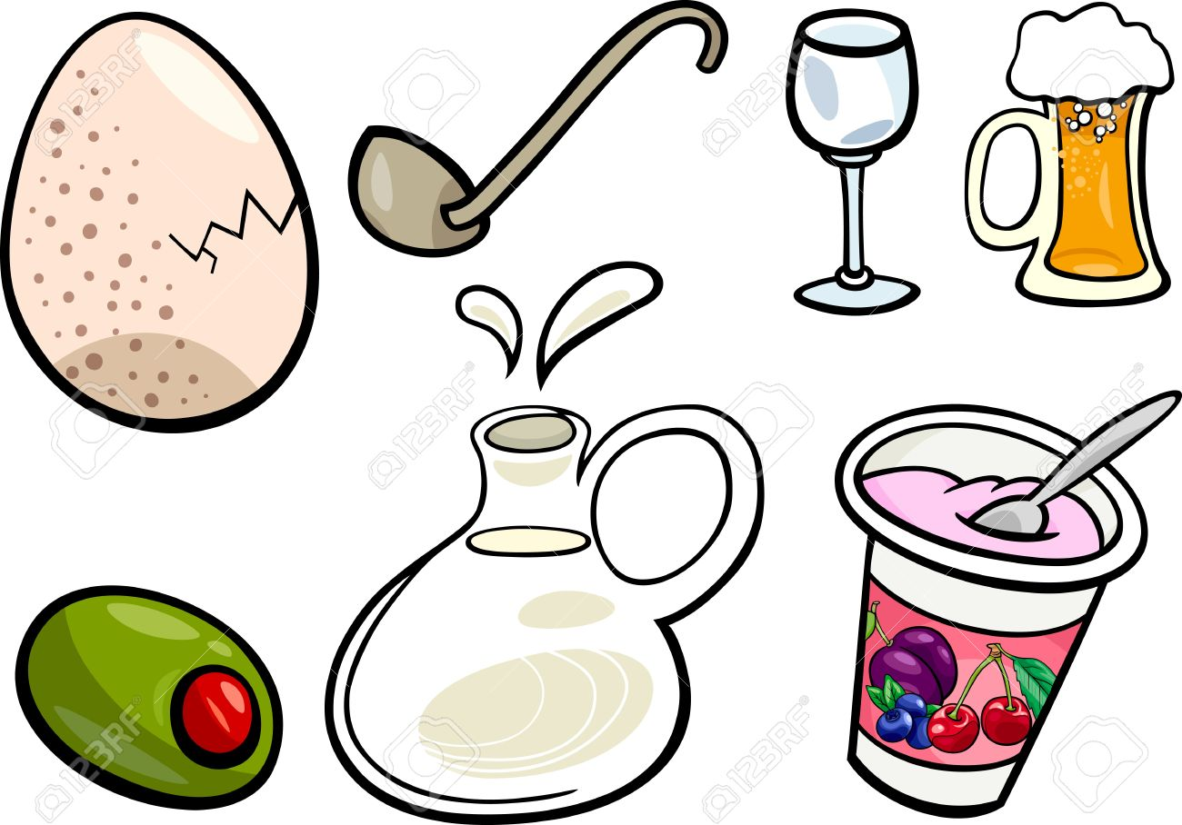 Cartoon Illustration Of Food And Drink Objects Clip Art Set.