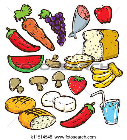 Clip Art of set of healthy food in doodle style k11514548.