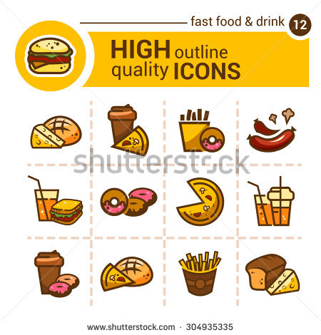Line Flat Icons Food Kitchen Vector Stock Vector 292371770.