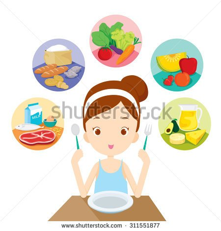 Group Of Women With Food Clipart.