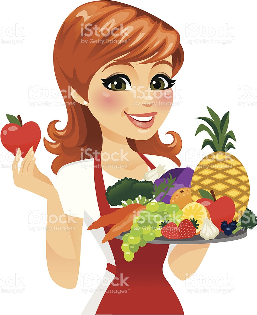Woman Eating Healthy Food stock vector art 176700143.