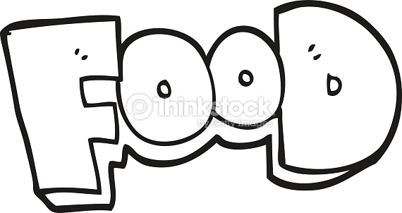 Black And White Cartoon Word Food Vector Art.