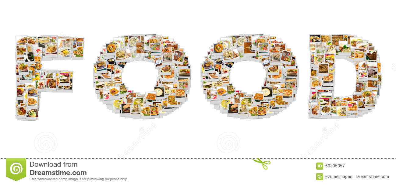 Word Food Collage Stock Photo.