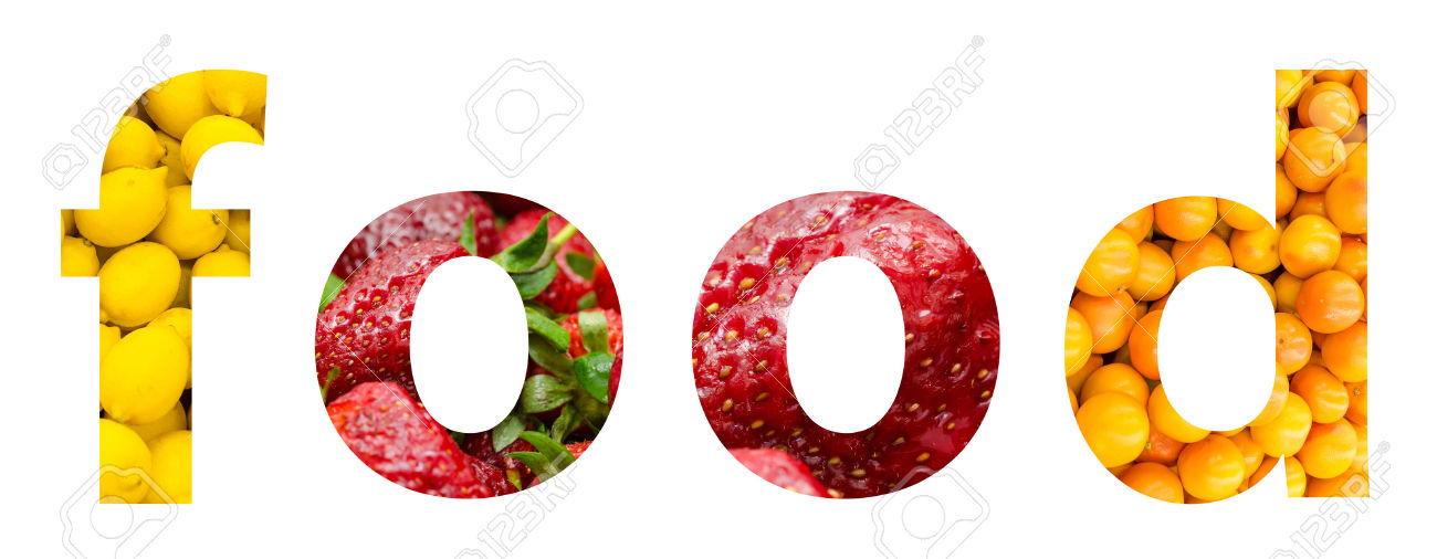 Healthy Food Fruits Word Concept Stock Photo, Picture And Royalty.