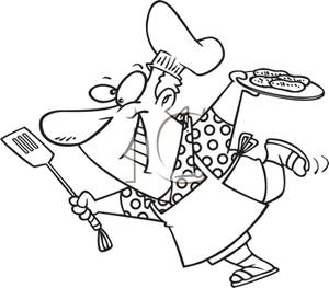 Man Cooking Clipart Black And White.