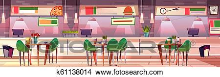 Food court hall in mall shop vector illustration Clipart.