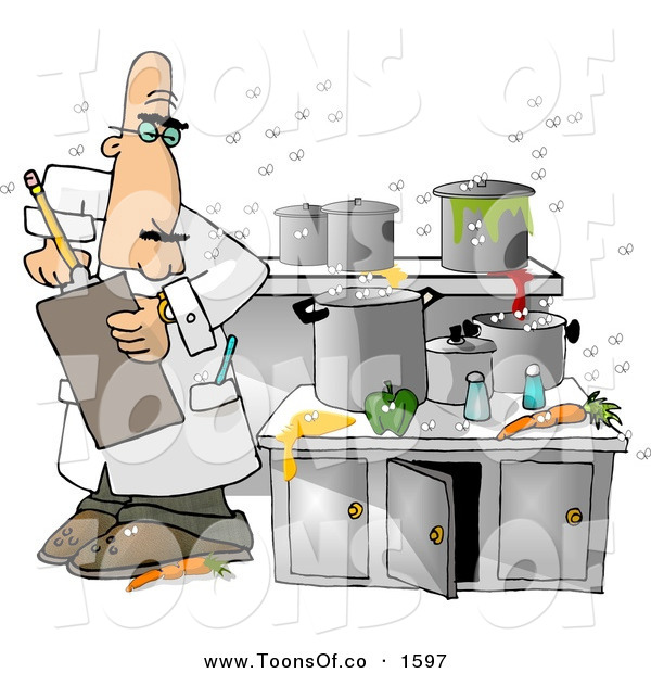 Cartoon of a Curious White Food Health Inspector Inspecting a.