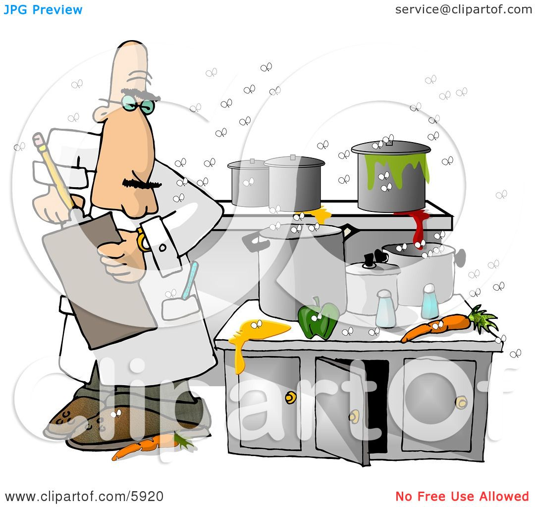 Food Health Inspector Inspecting a Dirty Kitchen at a Restaurant.