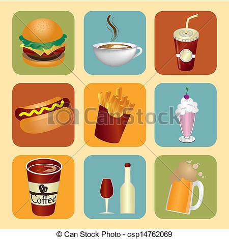 Clip Art Vector of food and drinks icons over cream background.