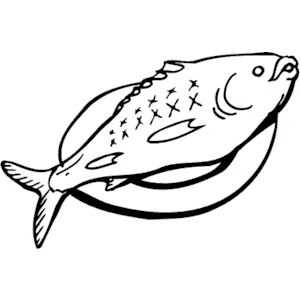 Food fish black and white clipart.