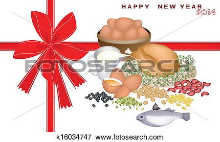 Clip Art of New Year Gift Card with Protein Foods k16034747.