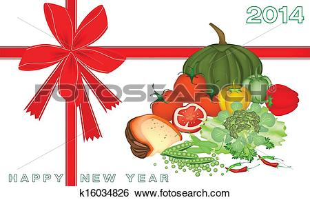 Clip Art of New Year Gift Card with Vegetable and Food k16034826.