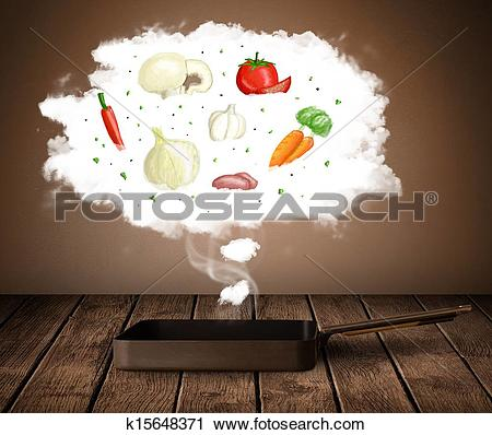 Stock Photography of Vegetables in vapor cloud k15648371.