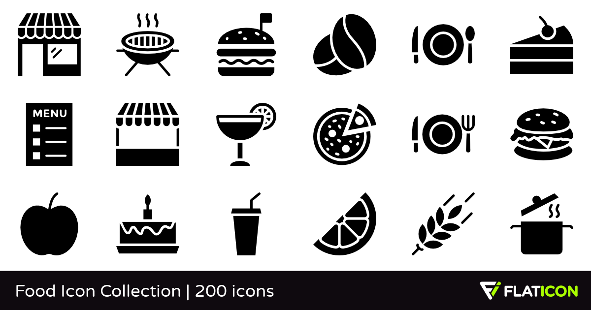 Food Icon Collection 200 free icons (SVG, EPS, PSD, PNG files).