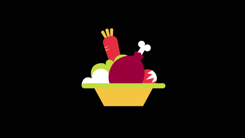 Food Icons Animation with Black Stock Footage Video (100% Royalty.