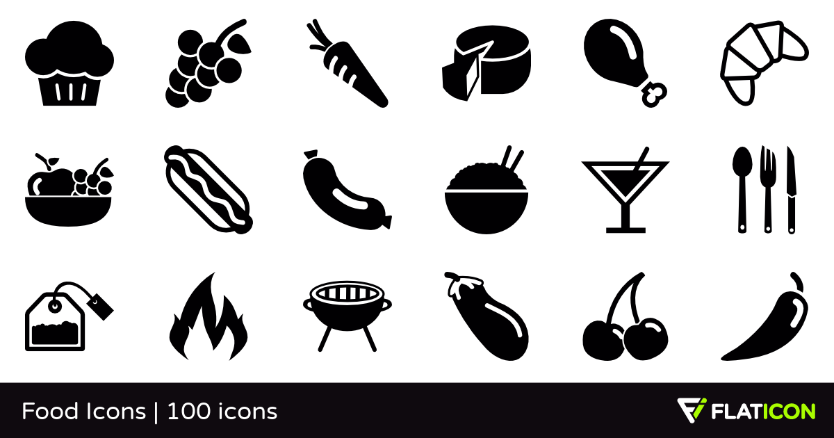 Food Icons 100 free icons (SVG, EPS, PSD, PNG files).