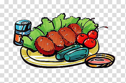 COLORFUL FOOD PICS, animated illustration of meat dish.
