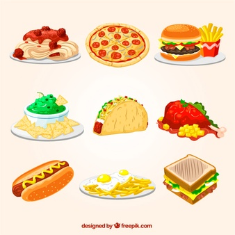 Fast food illustrations Vector.