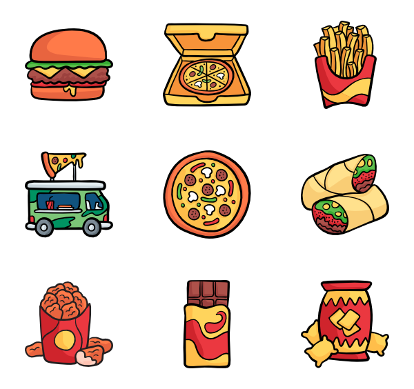 11 hand drawn food icon packs.