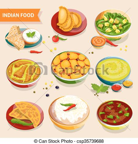 Clip Art Vector of Indian food with bread.