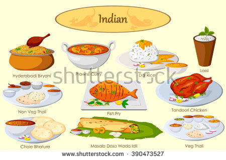 Collection Delicious Indian Food Vector Stock Vector 390473527.