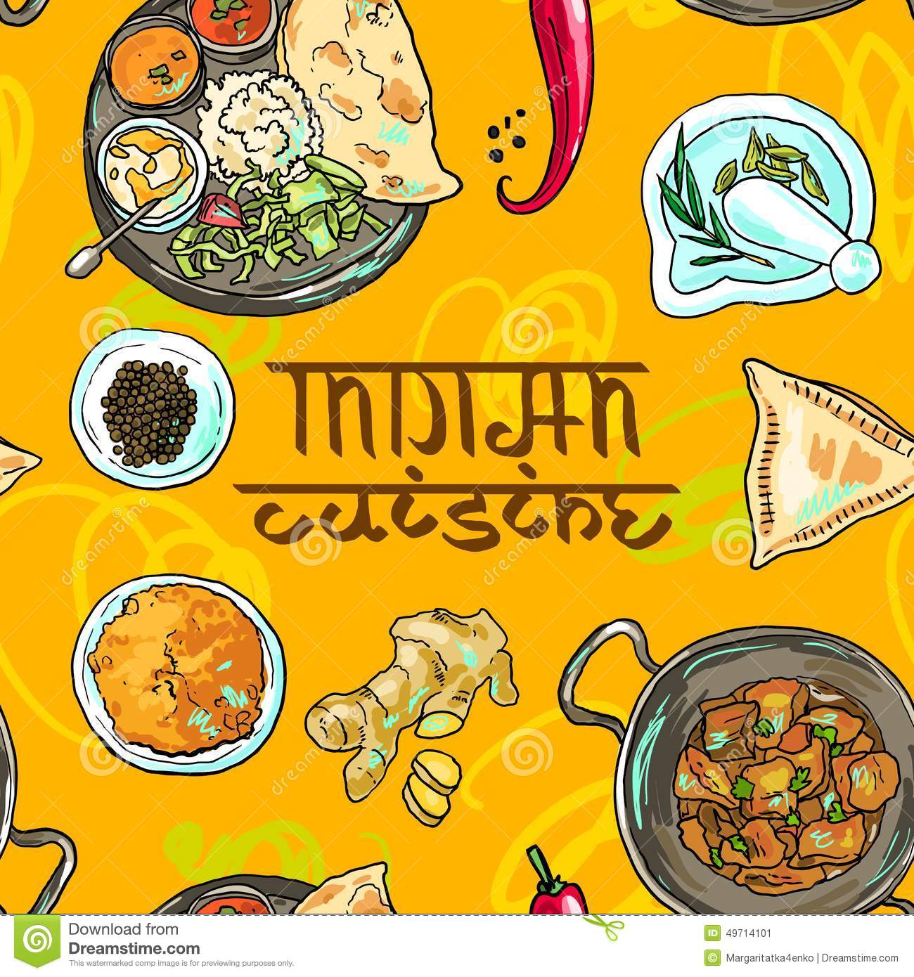 Indian Food Stock Vector.