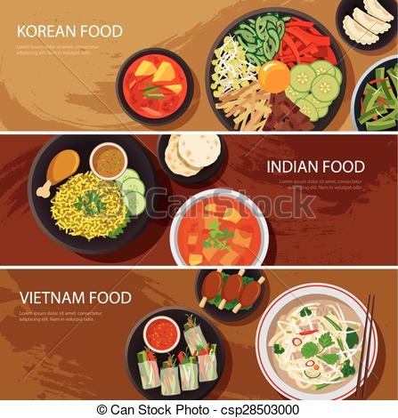 Vector Clipart of asia street food web banner , korean food.