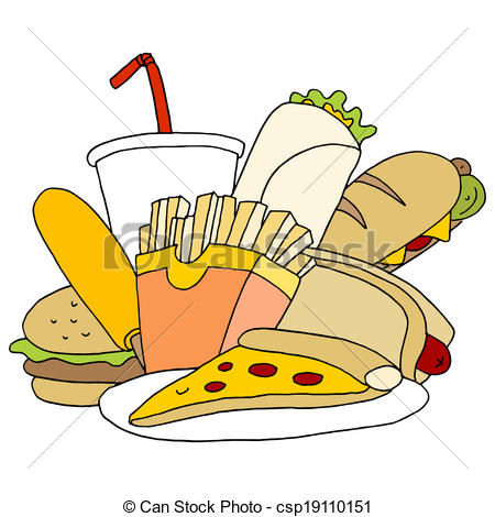 Clipart Vector of Fast Food Item Set.