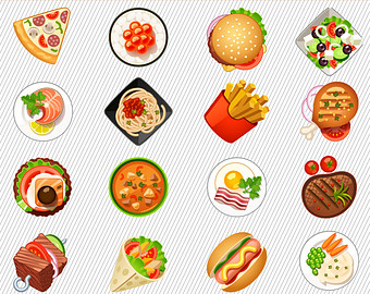 Clipart pictures of food items.