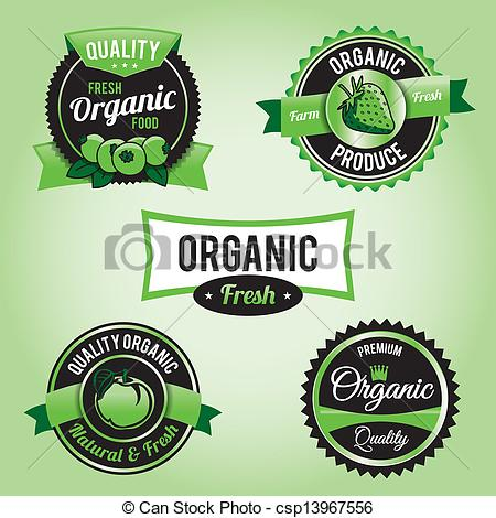 Clipart Vector of Organic Food Labels and Badges.