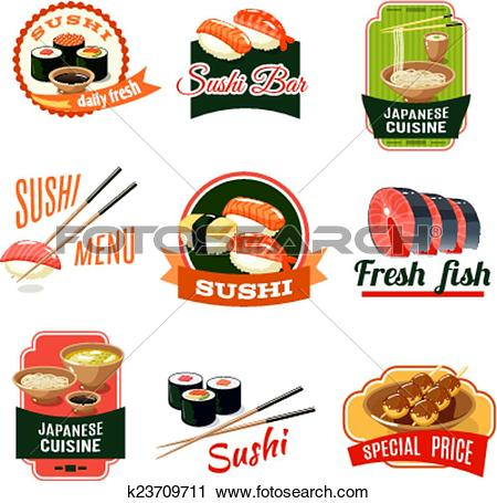 Clipart of Asian Food Labels k23709711.