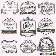 vintage food label clip art.