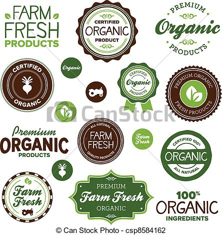 Vector Illustration of Organic food labels.