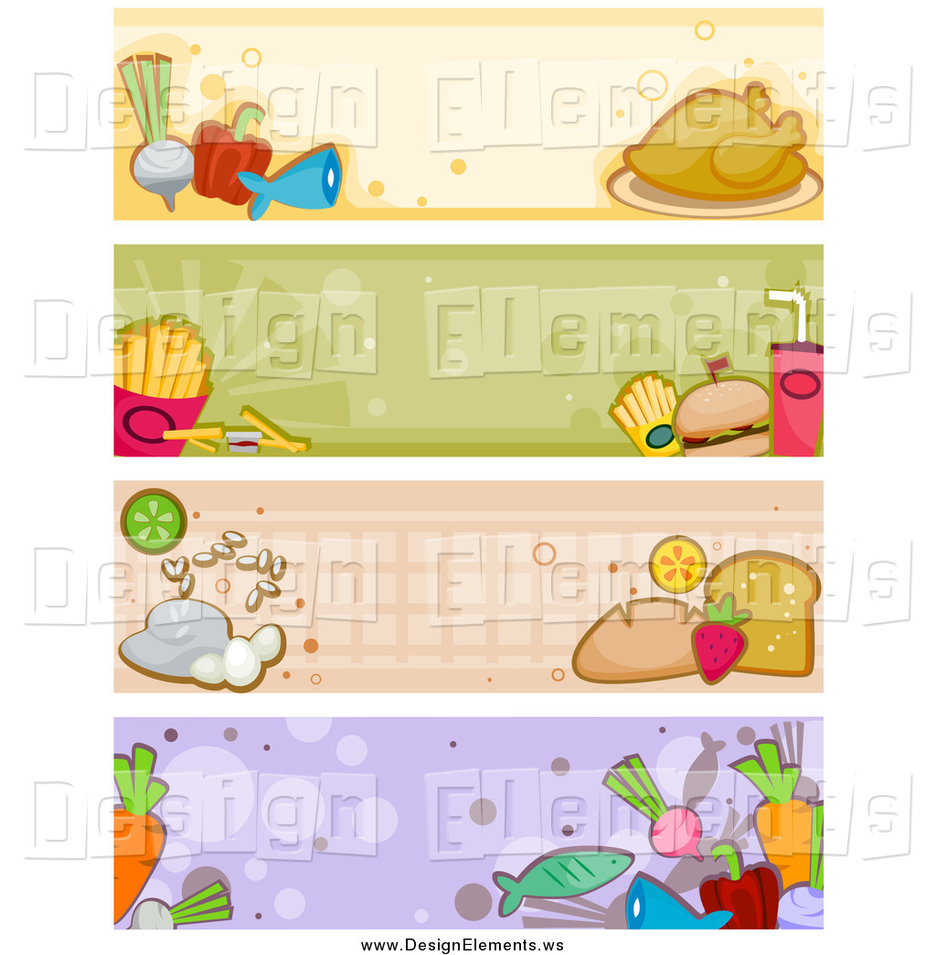 Clipart of Four Food Banners by BNP Design Studio.