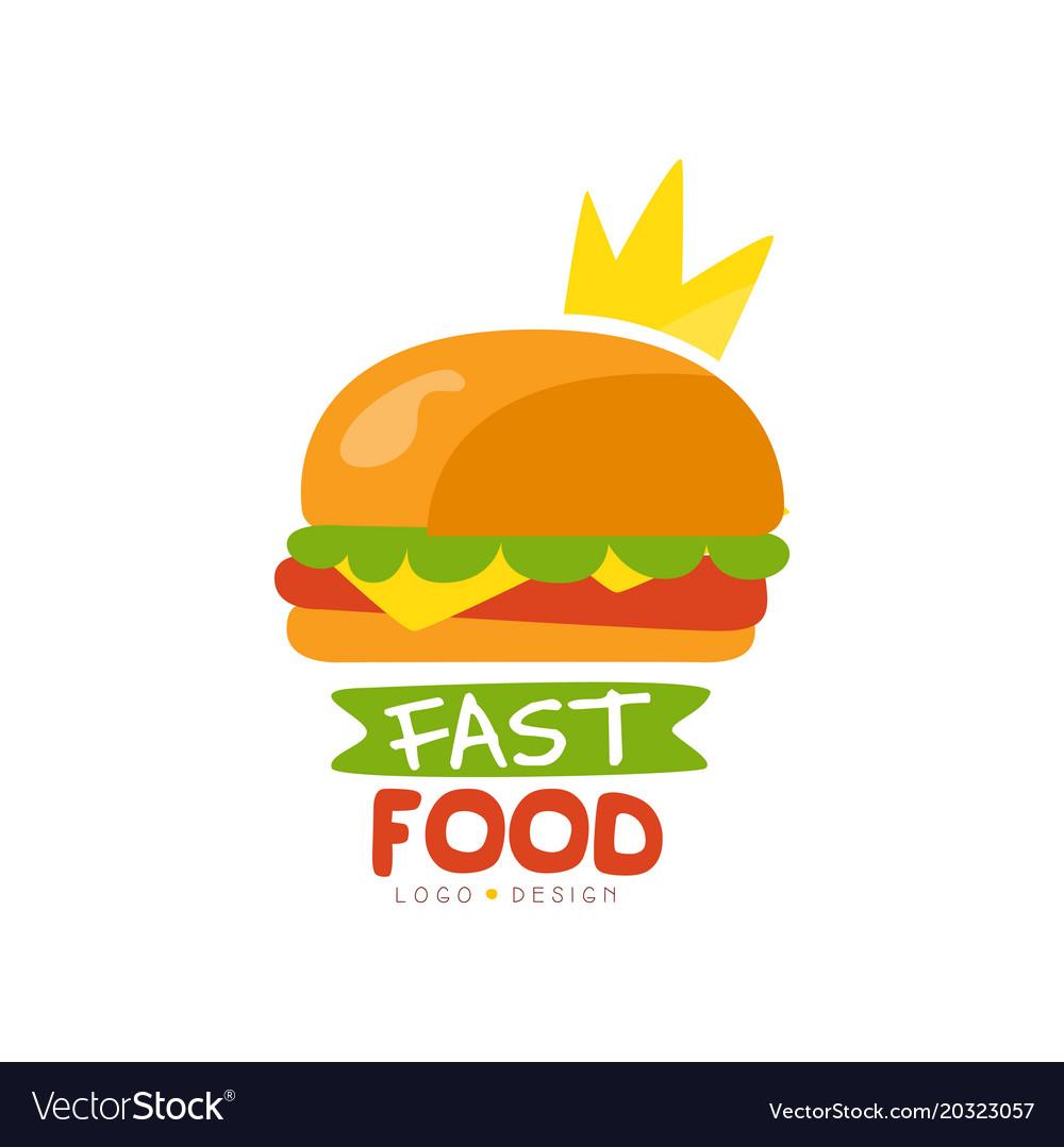 Fast food logo design burger sign with crown.