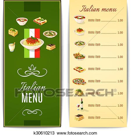 Italian Food Menu Clipart.