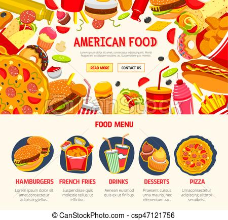 Fast food restaurant menu banner template.